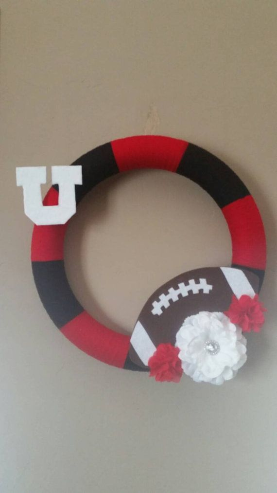 Utah Utes Wreath!   Check out this item in my Etsy shop https://www.etsy.com/listing/252931770/utah-utes-football-wreath-16-diameter