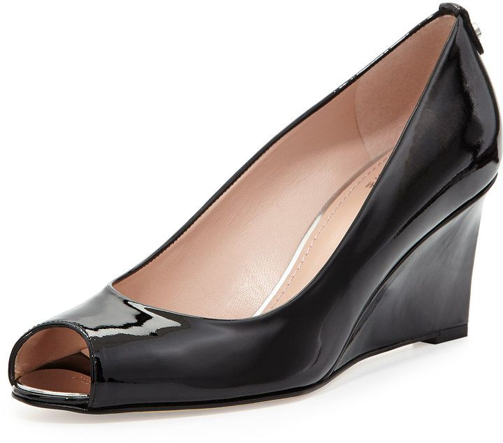 $398, Stuart Weitzman Loire Patent Peep Toe Wedge Pump Black. Sold by Neiman Marcus. Click for more info: https://lookastic.com/women/shop_items/202824/redirect