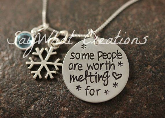 "Sterling silver hand stamped necklace ""some people are worth melting for"" totally what this!!!"