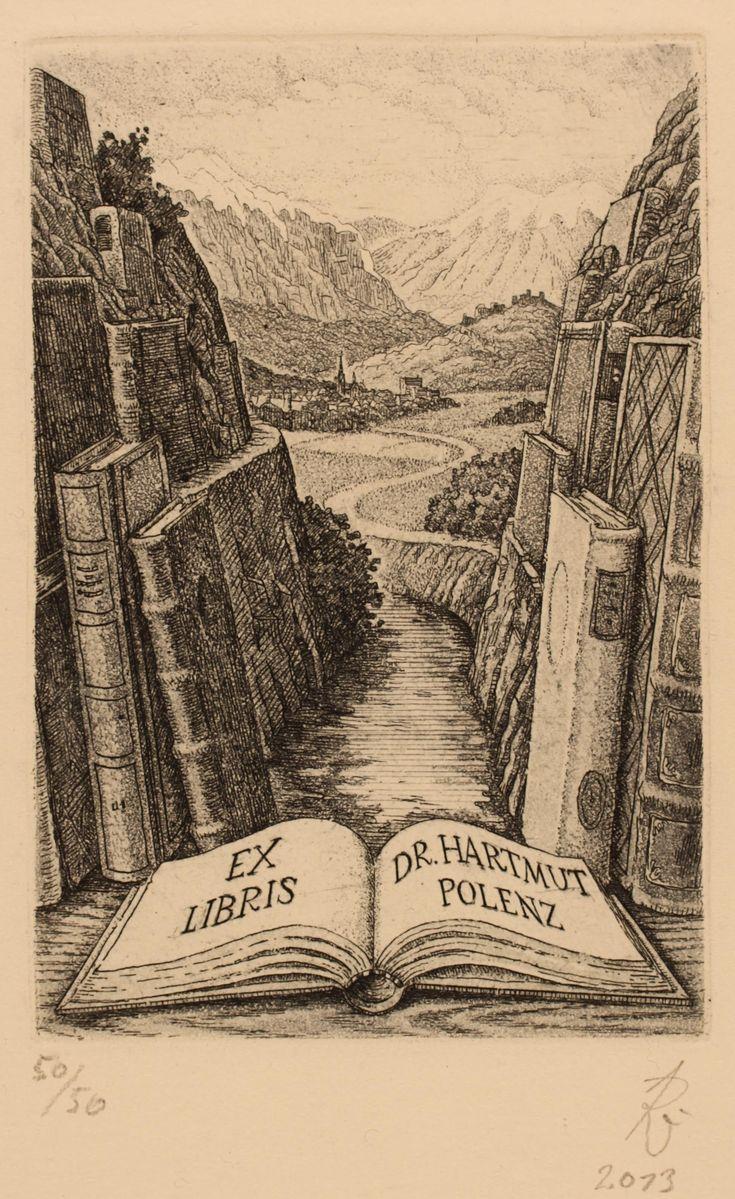 Ex Libris for dr. Hartmut Polenz, by artist Andras Raub, 2013