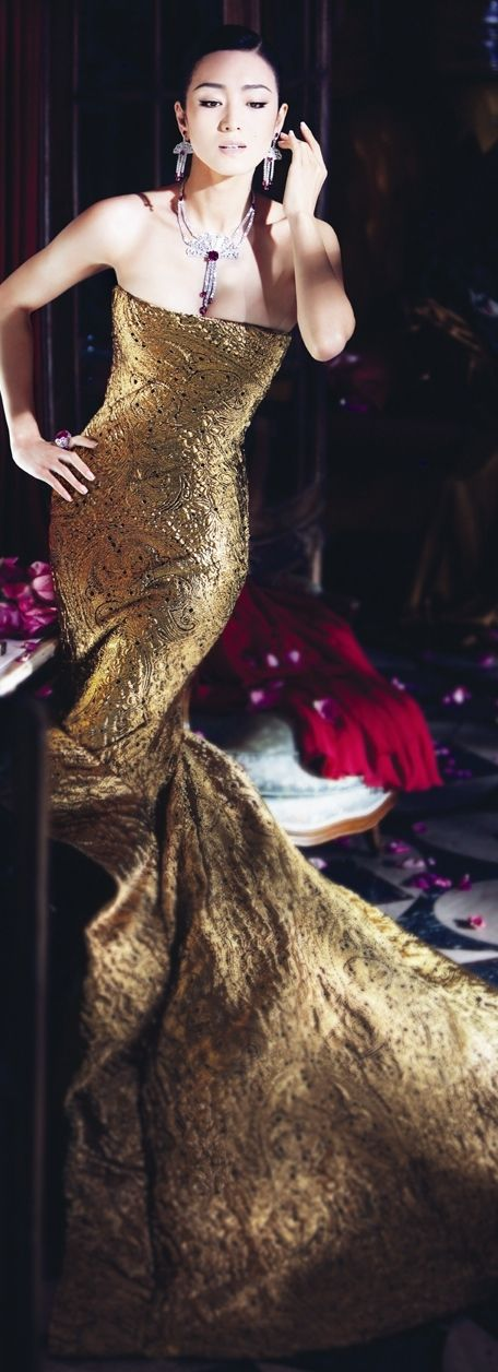 Black tie affair:  Stunning Gold Gown