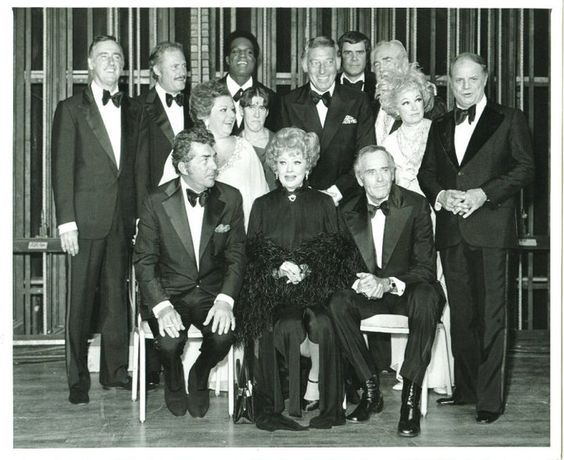 1975 - Dean Martin's roast of Lucy-- Back L-R Dick Martin, Dan Rowen, Nipsy Russell, Lucy's husband Gary Morton, Rich Little, Foster Brooks, mid row L-R Totie Fields, Ruth Buzzi, Phyllis Diller, Don Rickles, - seated Dean, Lucy and Henry Fonda.
