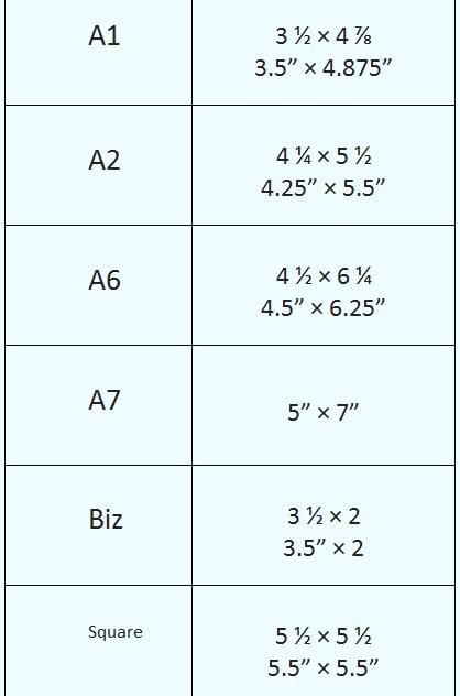 common card sizes