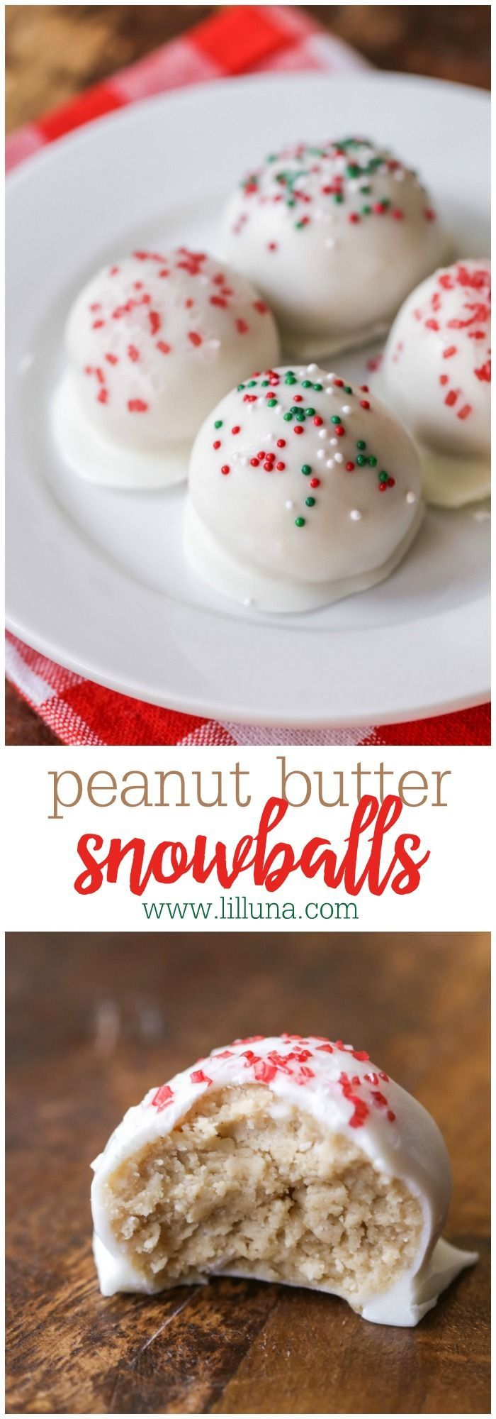 Peanut Butter Snowballs - filled with sweet, creamy peanut butter and covered in vanilla candy coating and sprinkles!