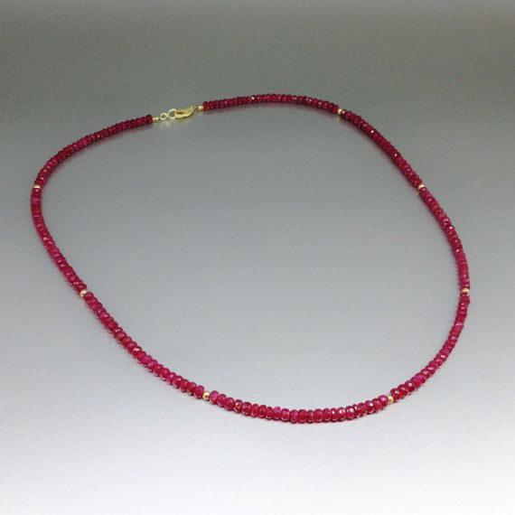 Fine necklace of genuine Ruby with 14K gold elements and clasp - gift idea by gemorydesign. Explore more products on http://gemorydesign.etsy.com