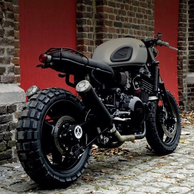 black 2003 triumph street triple with knobbly tyres - Google Search