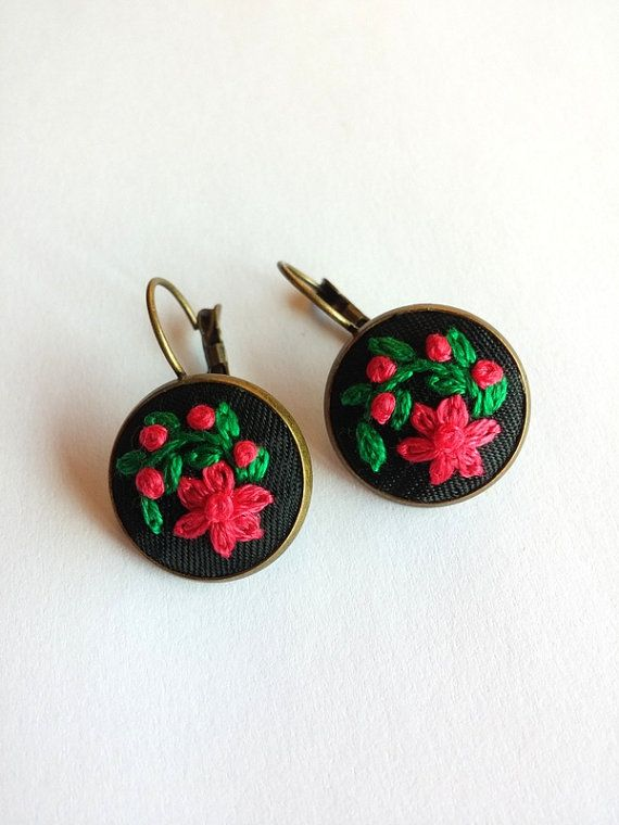 Hand Embroidered Flower Earrings Floral by RedWorkStitches on Etsy