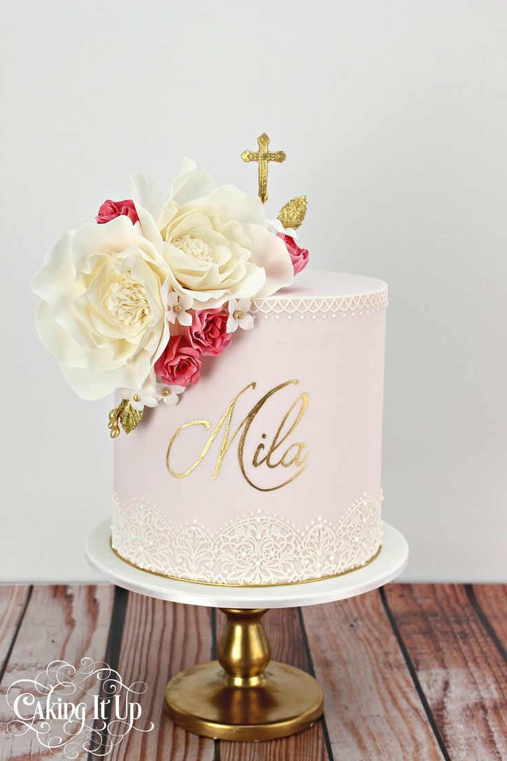 1 tier christening cake adorned with delicate sugar flowers and edible lace. Featuring our favourite hand painted technique. www.facebook.com/cakingitup