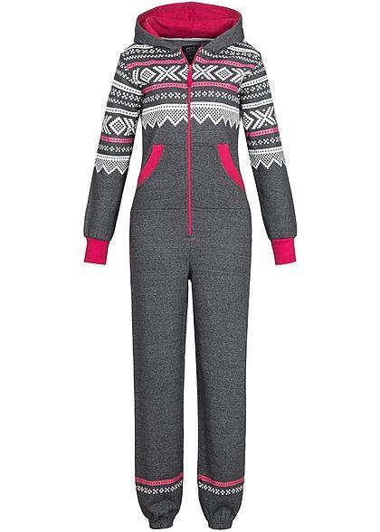 Seventyseven Lifestyle Damen Jumpsuit Kapuze Kontrastzipper 2 Taschen dunkel grau pink Seventyseven Lifestyle Hosen | 77onlineshop im Online Shop preiswert kaufen
