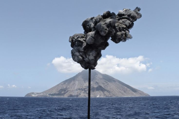 Michal Smandek, Prognostic - Stromboli volcano, Italy, 2013, sculpture (sponge, cotton, steel)