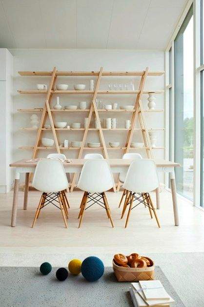 Shelf could be made with three ladders