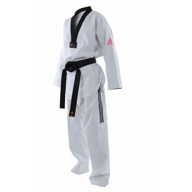 Dobok Taekwondo Adidas Adizero Lght Flex - ADITZO01 logo rouge rose