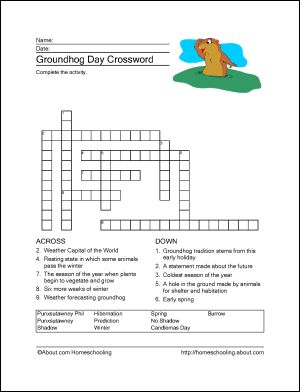 10 Word Games and Coloring Pages for Groundhog Day: Groundhog Day Crossword Puzzle