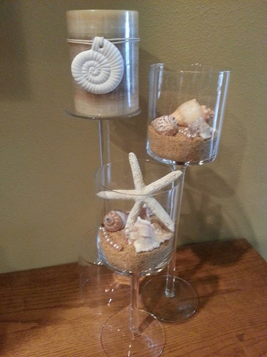 My beach themed centerpieces real wedding pinterest