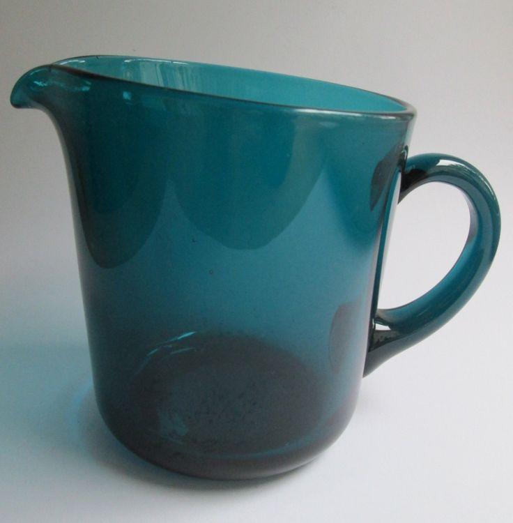Turquoise (green) glass pitcher (jug) 100 cl., designed in 1954 by Kaj Franck for Nuutajärvi Notsjö Finland by SCALDESIGN on Etsy