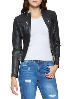 b76f7fbd47 Ruched Faux Leather Jacket - 3087051069263