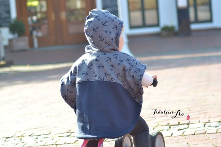 LUNA poncho cape sewing pattern - sizes 62-104 (6 mo-4/5yr) ~ Zierstoff  The LUNA poncho is perfect for spring and fall. It looks lovely over a long sleeved shirt or sweater.  Skill Level: Beginners and up  Recommended Fabric: Sweatshirt material or fleece. You can also process softshell fabric.