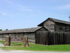 """Fort Gibson was one of the most important of the posts on  th """"Permanent Indian Frontier."""" The first fort established in Indian Territory, it was actively involved in the problems associated with the relocation there of the Five Civilized Tribes from the Southeast. Established in 1824 the fort was responsible for keeping peace between the Osage and Cherokee who were filtering into Indian Territory."""