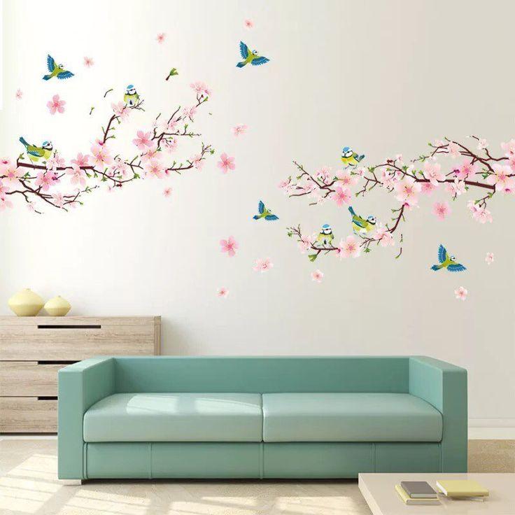 2 Pack decalmile Stickers Muraux Fleurs Pivoine Autocollant D/écoratifs Salon Chambre Bureau