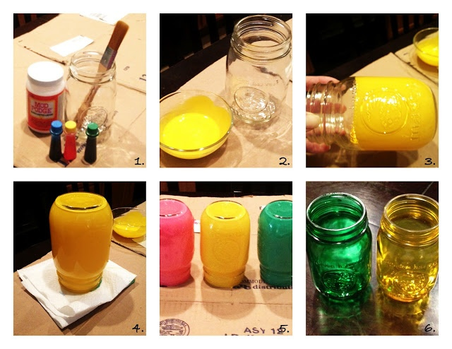 {DIY} Stained Mason Jars ~ Maybe green to make as candle holders for the barn
