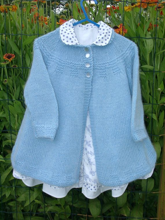 SALE ITEM 10% OFF. Baby/toddler coat and hat,hand knitted in pale blue,age 18-24 months. $49.50, via Etsy.