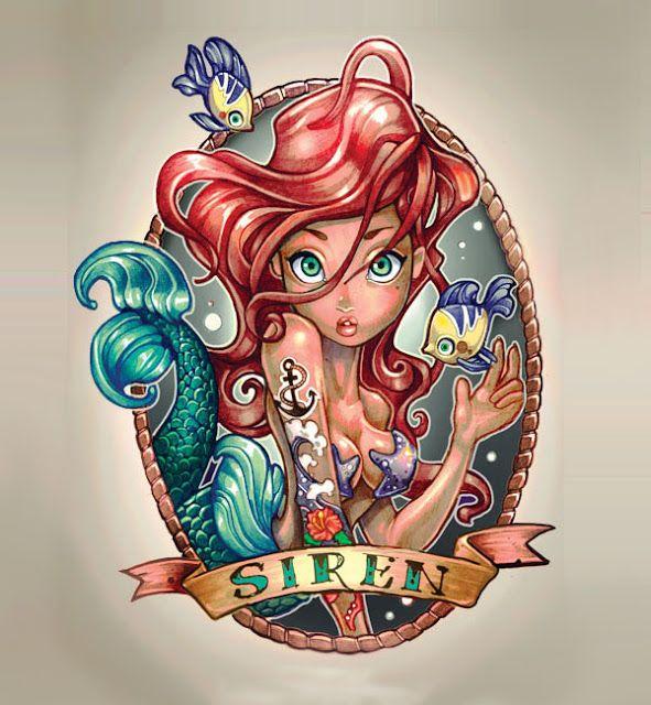 """O ilustrador Timothy John Shumate estava andando na rua e viu um sujeito com uma tatuagem de sereia, o que o levou a imaginar como seria se o desenho fosse da Ariel. Partindo daí, ele resolveu criar um flash inteiro de tatuagens com as princesas dos desenhos da Disney.  As ilustrações mesclam com muito bom humor os estilos """"old e new school"""" de tatuagens, apresentando versões no estilo """"Suicide Girls"""" de ícones do universo Disney como Pocahontas, Sininho, Alice, Branca de Neve, Jasmin e cia."""