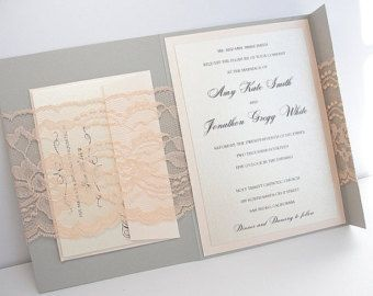 grey lace wedding invitations - Google Search