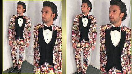 Ranveer Singh Quirky Bollywood Cinema Outfit at Filmfare Awards 2018 Grabs Limelight | موفيز هوم  Actor Ranveer Singh does it again grabs attention with his quirky outfit at Jio Filmfare Awards 2018