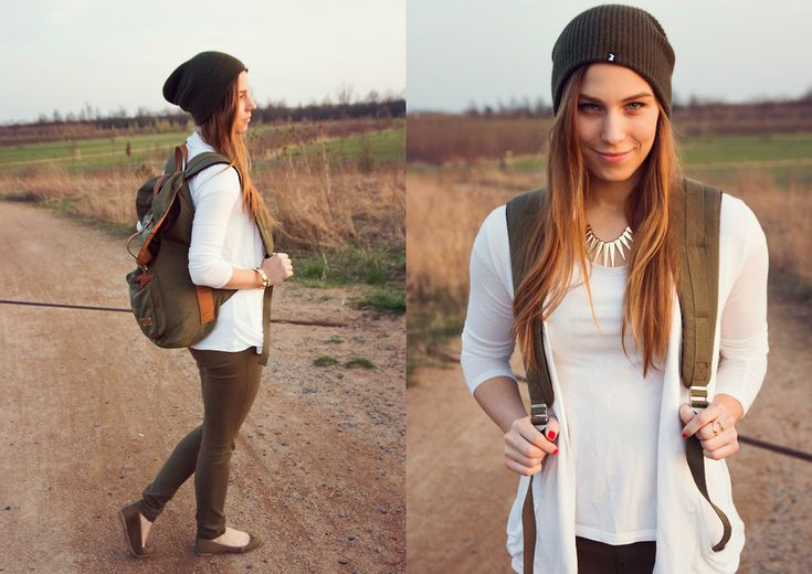 my little trip outfit - wearing my boyfriend's khaki backpack, h&m khaki flats, khaki beanie and white top