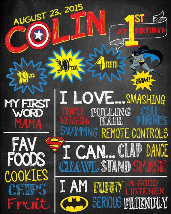Superhero Theme First Birthday Chalkboard  by RawsomeDesigns                                                                                                                                                                                 More