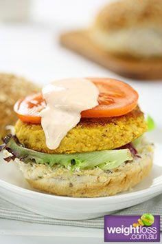 Pumpkin & Chickpea Burger. #HealthyRecipes #DietRecipes #WeightLossRecipes weightloss.com.au