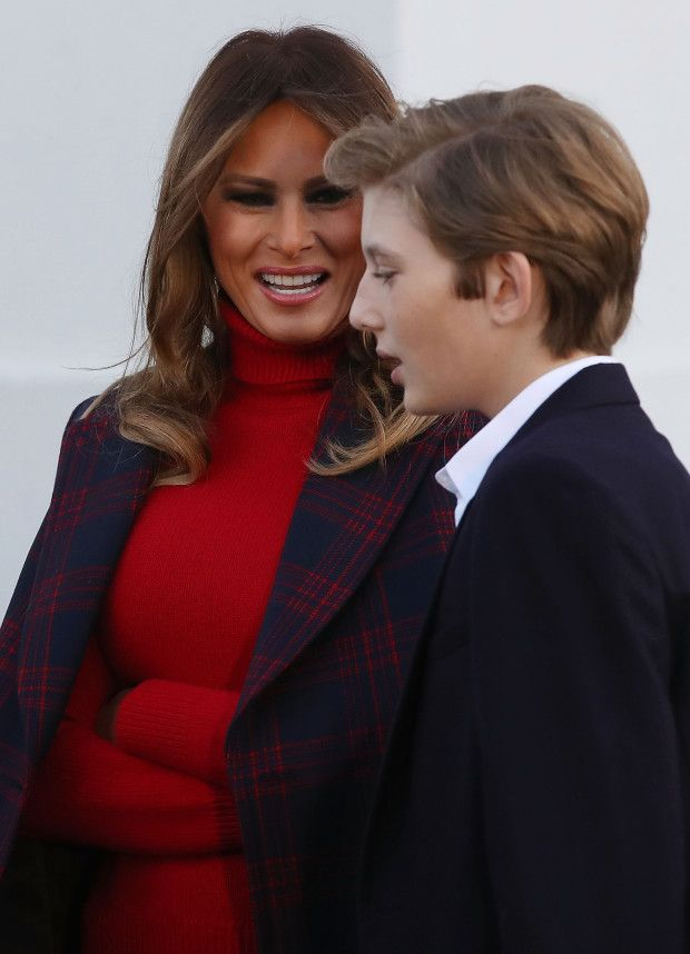 White House Thanksgiving Turkey Pardon 2017,. Mrs. Melania Trump and son, Barron Trump,... At the pardoning of the turkey.