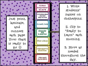 Class Behavior System- Class chart, behavior calendars, notes to parents!