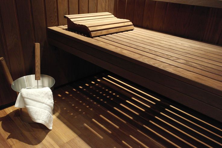 Beautiful light effect through heat treated timber in this atmospheric sauna from Dröm UK.