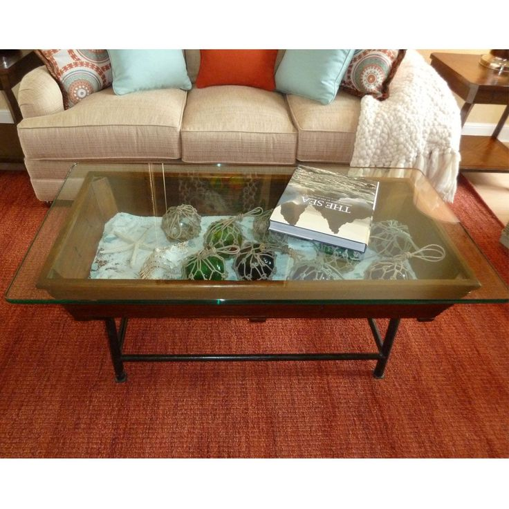 Saramar Old Trough With Glass Top Coffee Table 29w X 22h X 58l