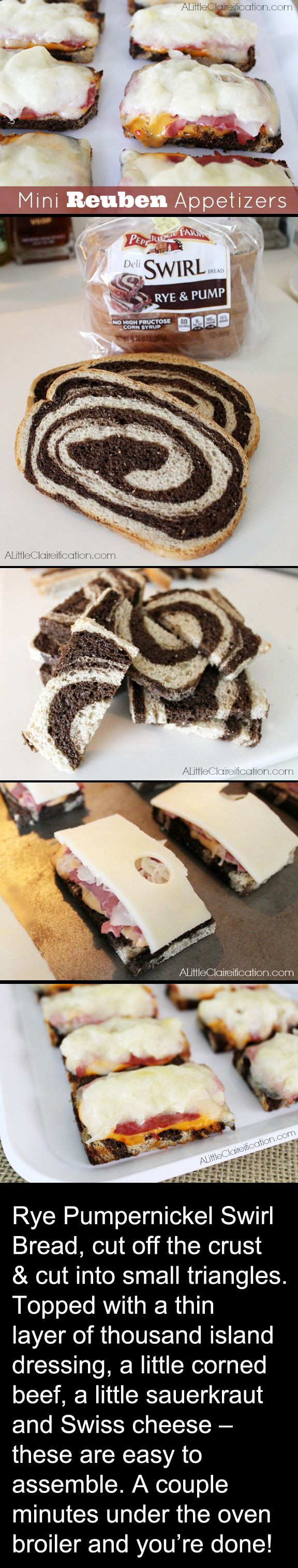 RECIPE: Mini Reuben Appetizers with Black & White bread| Perfect Party Food. Beware the Birds! Black & White Theme Poe & Hitchcock Halloween Party Menu Ideas