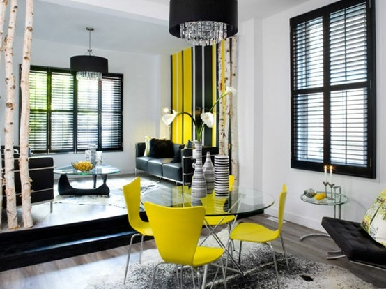 Black, White and Yellow home decor