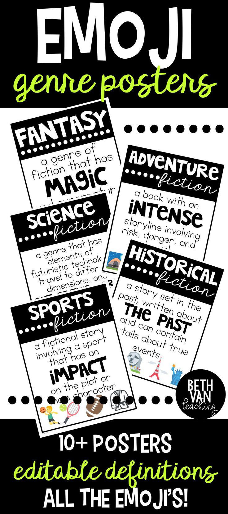 Emoji Reading Genre Posters (editable). Perfect and SUPER VISUAL way for students to learn book genres (and great for a 40 book reading challenge). Be sure to check these out!
