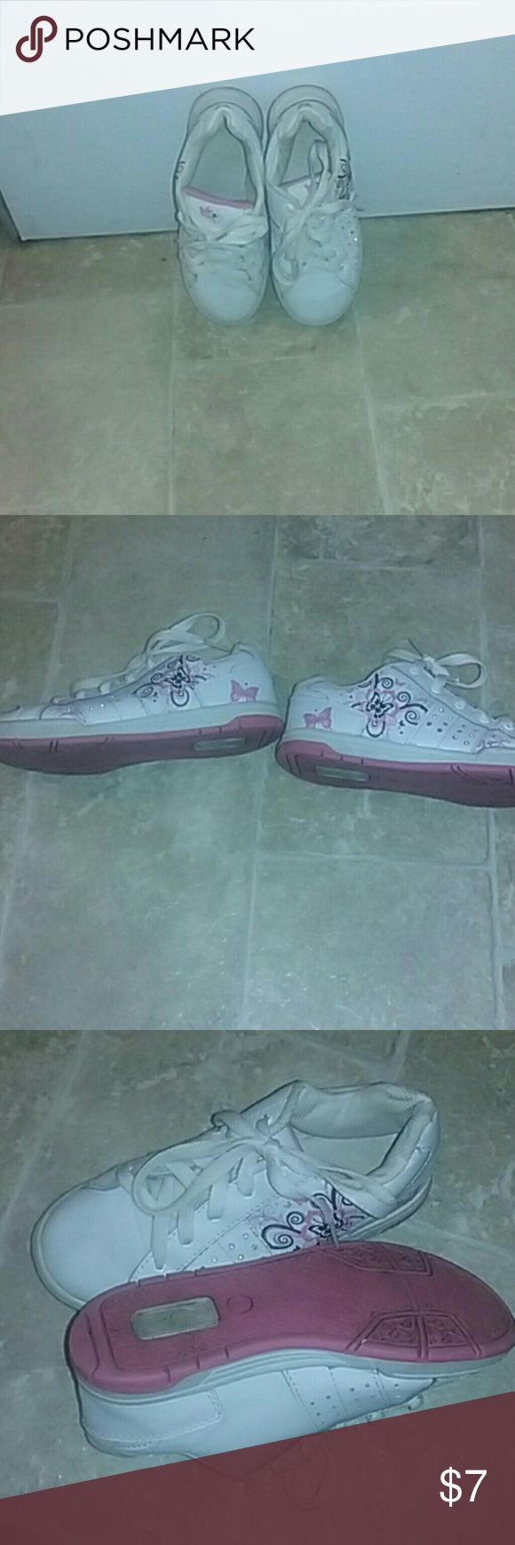Girls Tennis shoes white with b Very good shape   bright white girls size 2 Tennis Shoes, picture does do them justice. Very clean. Mta Shoes Athletic Shoes