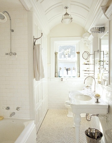 all white bathroom. the architectural details are stunning and that rounded ceiling is gorgeous.: Interior, Vintage Bathroom, Dream, Ceiling, Subway Tile, Bathroom Ideas, White Bathrooms, House, Design