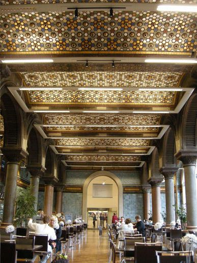 The Tiled Hall cafe - it joins Leeds Central Library to the art gallery and makes a cracking cake! Well worth calling in for a coffee (decaf, if you're coming on a study!)