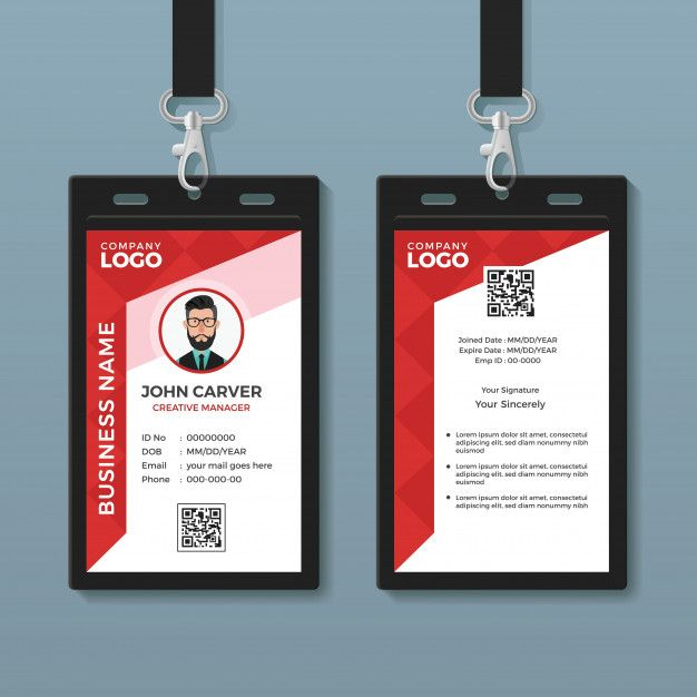 Simple Red Graphic Id Card Template Id Card Template Card Templates Free Card Template