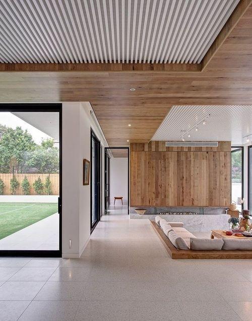 Modern Living Space with Sunken Conversation Pit Detail.