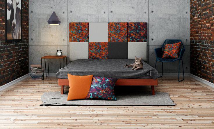 Headboard - upholstered modular wall panels PATTERN No. 1001 Cherry by DesignPolski on Etsy