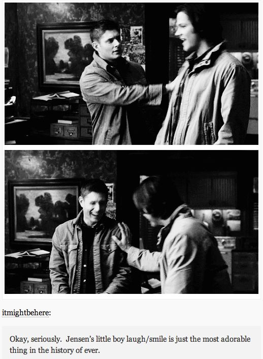 This whole thing is so cute I can't stand it! Gag reel GIFset #Supernatural