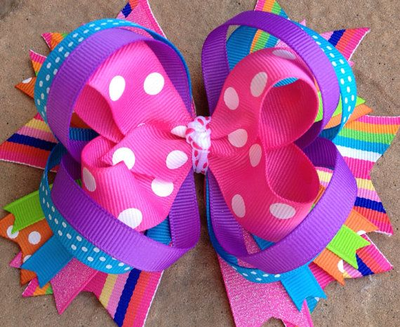 SPRING SUMMER Hair Bow Birthday Party bow in by PolkaDotzBowtique, $8.99