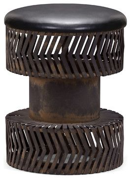 Rock n Roll Stool Rusted metal frame & Black - Rustic - Ottomans And Cubes - Zuo Modern Contemporary
