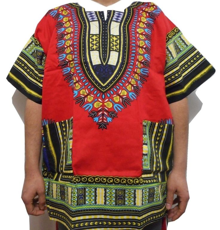African Hippie Men Dashiki Blouse Shirt Women Blouse Red Yellow Black One Size…