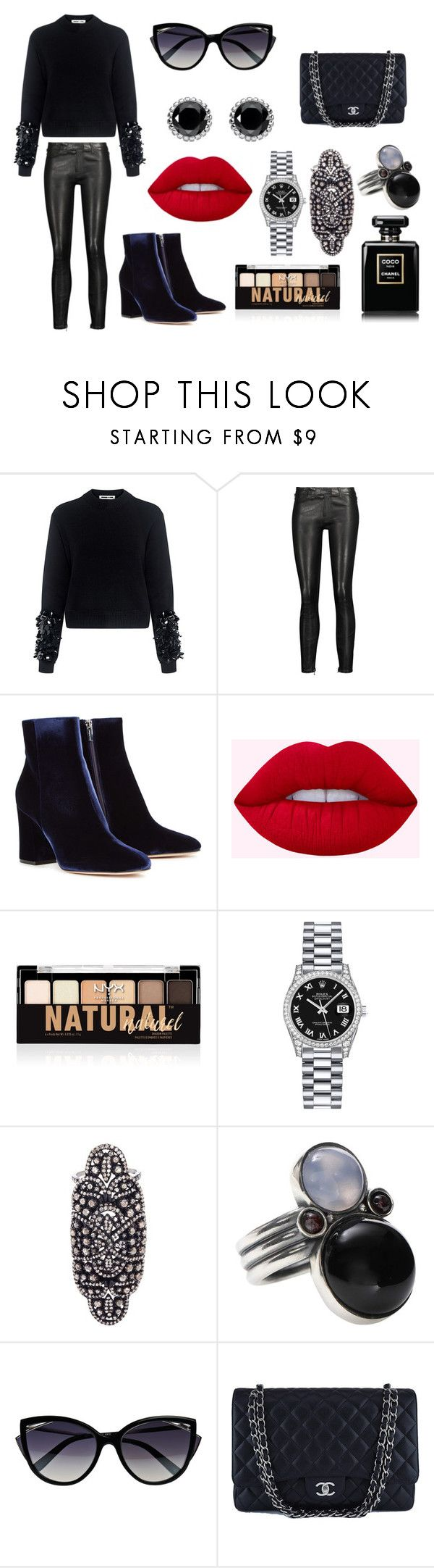 """""""Sin título #2253"""" by sweetblack-21 ❤ liked on Polyvore featuring McQ by Alexander McQueen, J Brand, Gianvito Rossi, NYX, Rolex, Amrapali, Bottega Veneta, La Perla, Chanel and Thomas Sabo"""