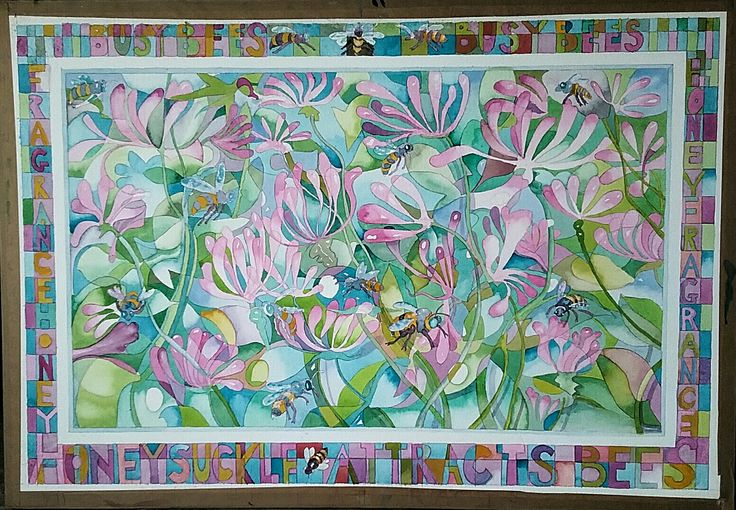Honeysuckle. Watercolour on handmade paper. 60x100 cm .